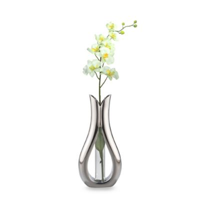 Nambe Tulip Bud Vase with Silk Orchid