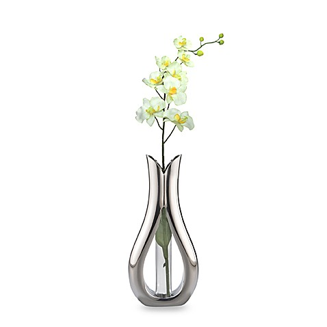 Nambe Tulip Bud Vase With Silk Orchid Bed Bath Amp Beyond