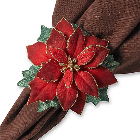 Red Poinsettia Napkin Rings (Set of 4)