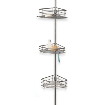 Oversized 3-Tier Pole Shower Caddy in Satin Nickel