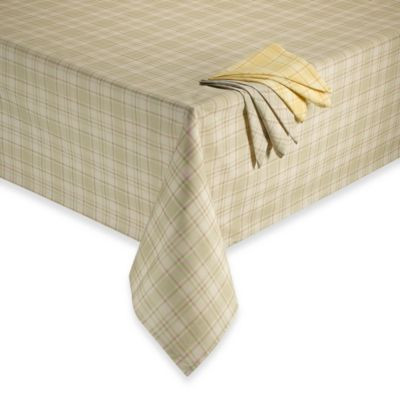 Tuscan 60-Inch x 84-Inch Oblong Plaid Laminated Fabric Tablecloth in Oatmeal