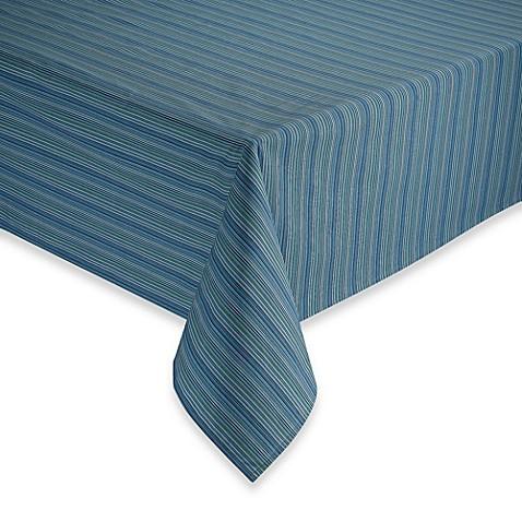 Tuscan Stripe Blue Laminated Fabric Tablecloth Bed Bath