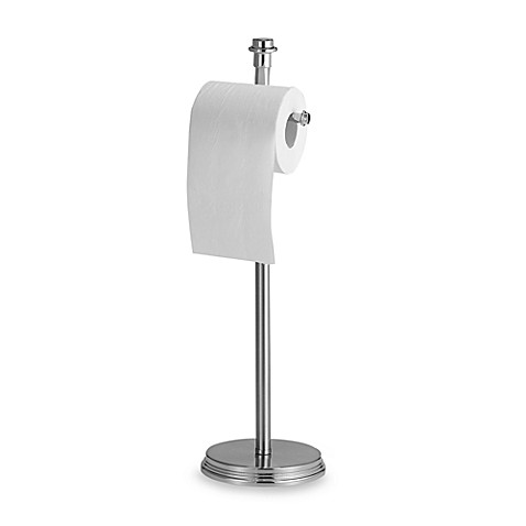 Buy winthrop brushed nickel toilet paper stand from bed bath beyond - Brushed nickel standing toilet paper holder ...