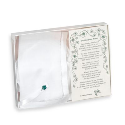 Simply Charming Linen Hemstitch Keepsake Baby Bonnet with Irish Shamrock