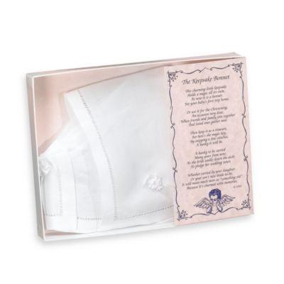 Simply Charming Linen Hemstitch Keepsake Baby Bonnet