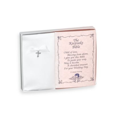 Simply Charming Baby Keepsake Bible with Swarovski Crystal Cross