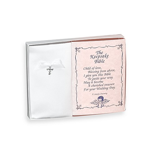 Simply Charming Baby Keepsake Bible with Swarovski Crystal Cross