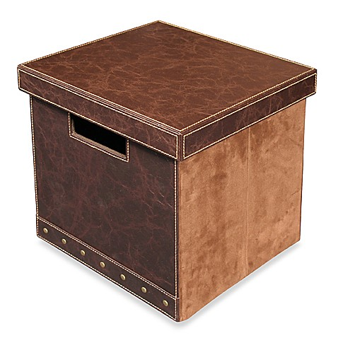 faux leather and suede storage cube with lid medium bed bath beyond. Black Bedroom Furniture Sets. Home Design Ideas