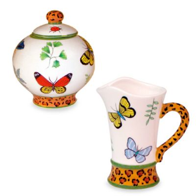 Butterfly Paradise Sugar Bowl and Creamer for Zrike