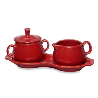 Fiesta® Covered Sugar and Creamer with Tray in Scarlet