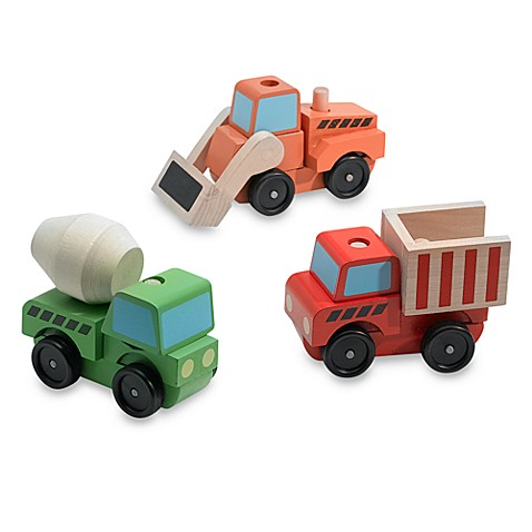 Melissa & Doug Stacking Construction Vehicles or Wooden Farm Train $10