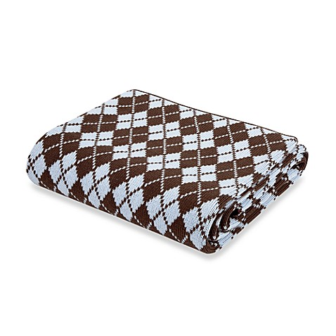 Argyle Pink and Chocolate Blanket by Elegant Baby, 100% Cotton