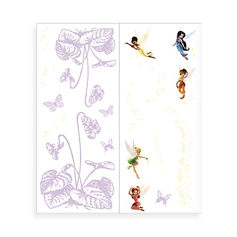 Disney fairies self stick mini mural wall covering bed for Disney princess mini mural