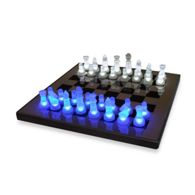 LumiSource LED Chess Set in Blue/White