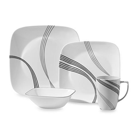 corelle square urban arc 16 piece dinnerware set bed