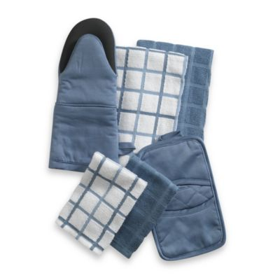 "Kitchensmart® 13"" x 14"" Plaid Dish Cloth in Blue"