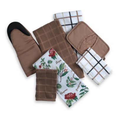 "Kitchensmart® 13"" x 14"" Plaid Dish Cloth in Mocha"