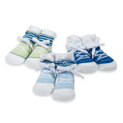 Mud Pie™ Baby Lil Man Size 0 to 12 Months 3-Pack Sneaker Socks