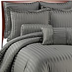Wamsutta® Damask Stripe Gray Mini Comforter Set, 100% Egyptian Cotton