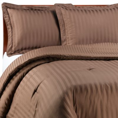 Wamsutta® Damask Stripe Comforter Set in Chocolate