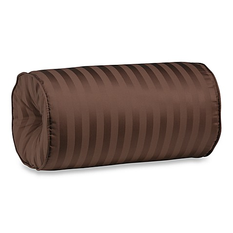 Wamsutta® Damask Stripe Bolster Throw Pillow in Chocolate