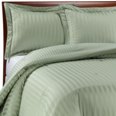 Wamsutta® Damask Stripe Green Full/Queen Mini Comforter Set