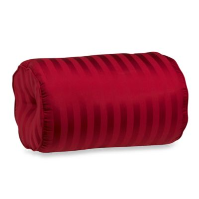 Wamsutta® Damask Stripe Bolster Throw Pillow in Red