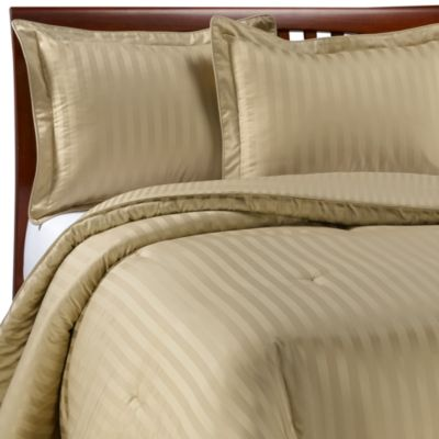 Wamsutta® Damask Stripe Wheat Twin Mini Comforter Set