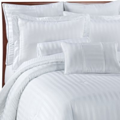 Wamsutta® Damask Stripe Full/Queen Mini Comforter Set in White