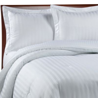 Damask Stripe White King Mini Comforter Set