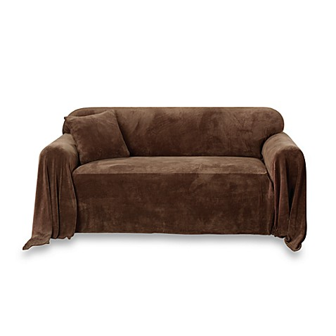 Sure Fit® Plush Loveseat Furniture Throw in Chocolate