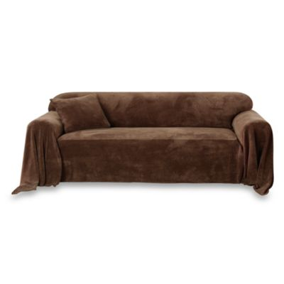 Sure Fit® Plush Sofa Furniture Throw in Chocolate