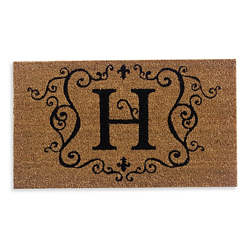 Monogram Letter Quot H Quot 16 Inch X 28 Inch Coir Door Mat Insert