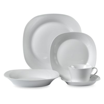Square White Porcelain 45-Piece Dinnerware Set