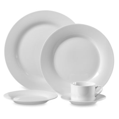Round Porcelain 45-Piece Dinnerware Set in White