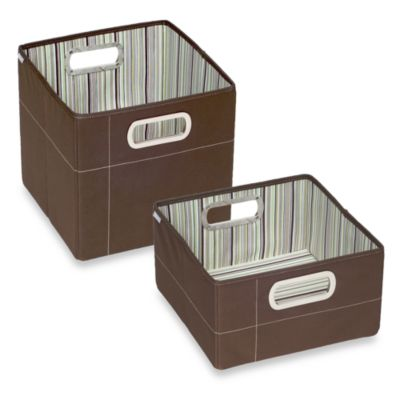 JJ Cole® Short Striped Storage Box in Cocoa