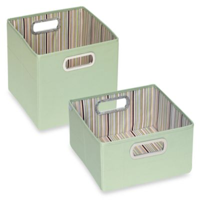 JJ Cole® Short Striped Storage Box in Green