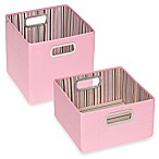 JJ Cole® Short Striped Storage Box in Pink