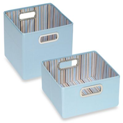 JJ Cole® Short Striped Storage Box in Blue