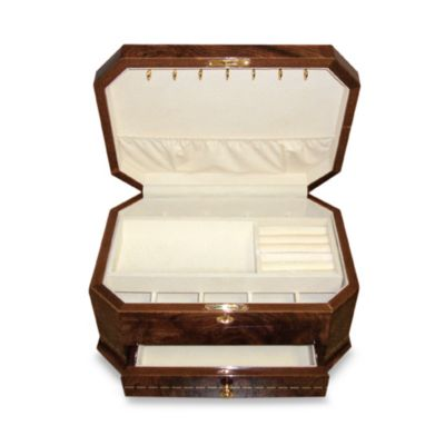 Brown Inlaid Jewelry Box with One Drawer