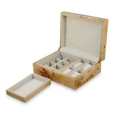 Natural Tan Burl Jewelry Box with Removable Tray