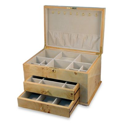 Natural Tan Burl Jewelry Box with Drawers