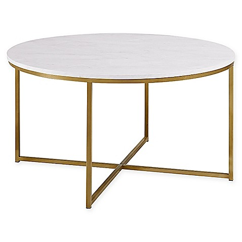Walker Edison X-Base Round Coffee Table in Gold with Faux Marble Top
