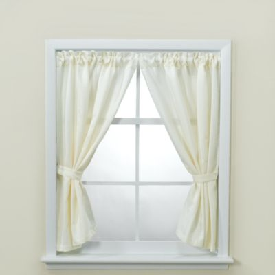 Westerly Bathroom Window Curtain Pair with Tiebacks and Hooks