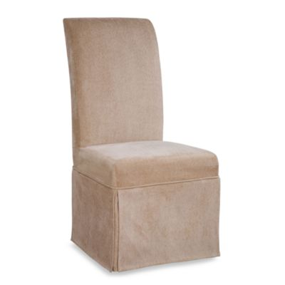 Parsons Chair Tan Chenille Slip Over Skirted Slip Cover