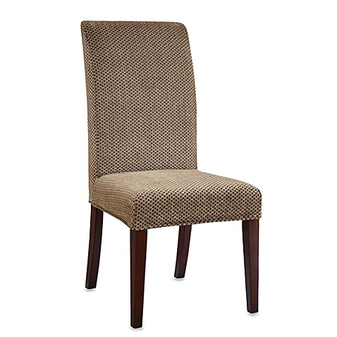 Parsons Chair Slip Over Slip Cover in Brown and Tan Checked Chenille