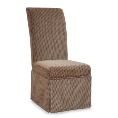 Parsons Chair Slip Over Skirted Slip Cover in Brown and Tan Checked Chenille