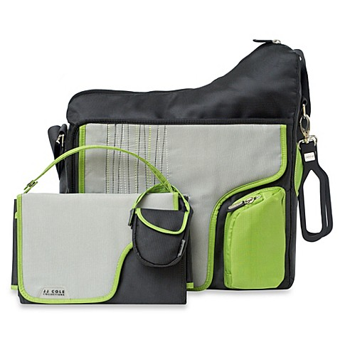 JJ Cole® System 180 Stripe Diaper Bag - Graphite Green