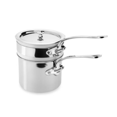 Mauviel 1830 M' Cook Stainless .9-Quart Bain -Marie with Porcelain Insert