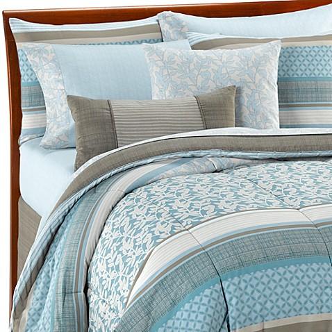 Othello 10 piece california king comforter set bed bath - Light blue and gray bedding ...